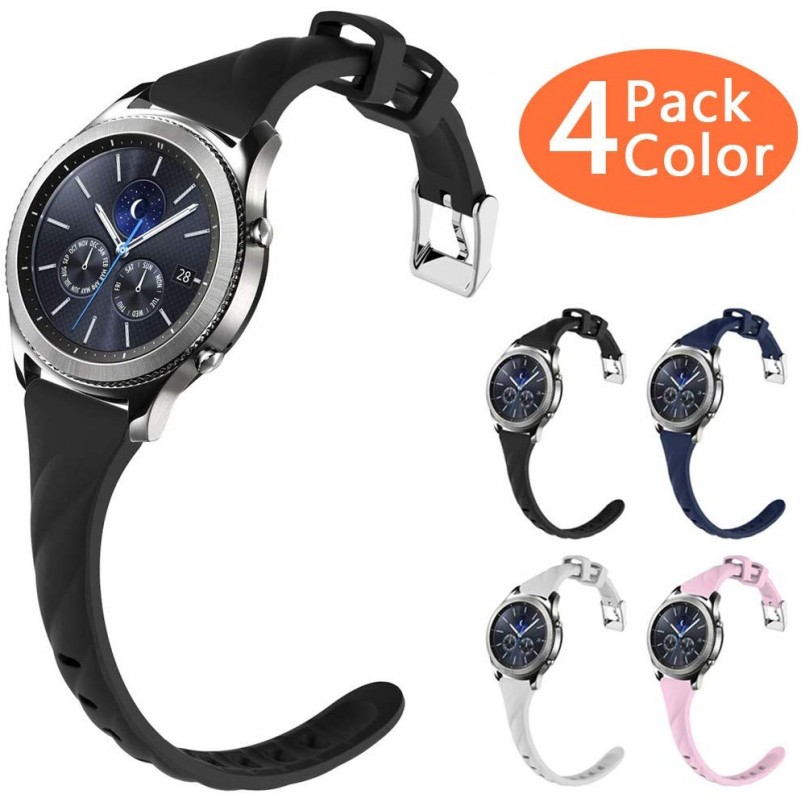 Best Buy Gear S3 Bands, Silicone Watch Bands for Samsung Gear s3 Frontier/Gear s3 Classic Smart Watch (4 Pack) online with free shipping from HALLEAST online shop.