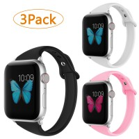 Soft Silicone Watch Bands for Women Series 4/ Series 3/ Series 2/ Series 1 38mm 40mm 3pack