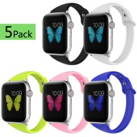 Soft Silicone Watch Bands for Women Series 4/ Series 3/ Series 2/ Series 1 38mm 40mm 5pack